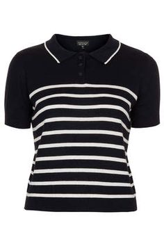 Knitted Striped Polo Top