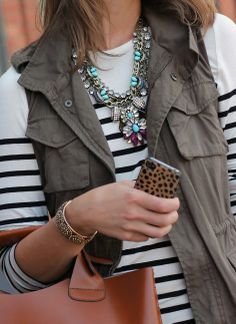Striped t, army vest, statement necklace