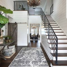 From rustic wood to modern metal, discover the top 70 best stair railing ideas. Explore stunning indoor staircase design inspiration and styles. Dream Home Design, Home Interior Design, Room Interior, Exterior Design, White House Interior, Beautiful Houses Interior, House Beautiful, Beautiful Space, Exterior Paint