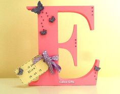 Large embellished wooden letters free standing letters christening gift personalised initial on Etsy, $17.19