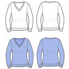 Women's V-Neck Sweater Fashion Flat Template