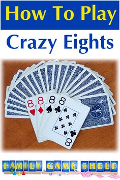 Crazy Eight Countdown is a fun twist on the family favorite card game, Crazy Eights. Learn how to play and see why this version makes a great game Gift Card Games, Party Card Games, Family Card Games, Card Games For Kids, Party Fun, Party Time, Single Player Card Games, 2 Person Card Games, Werewolf Card Game
