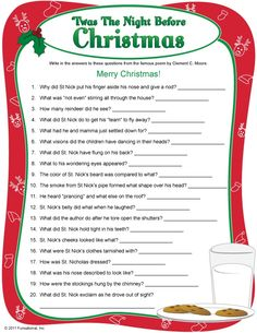 'Twas The Night Before Christmas' trivia Xmas Games, Holiday Games, Holiday Fun, Fun Games, Word Games, Holiday Ideas, Christmas Activities, Christmas Printables, Christmas Traditions
