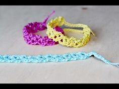 Braccialetti colorati all'uncinetto - Tutorial - YouTube