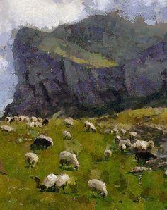 Landscape Painting Art PRINT Sheep Painting by AnnasDigitalArtDeco Sheep Paintings, Large Wall Art, Painting Art, Printable Art, Landscape Paintings, Digital Prints, Original Art, Art Prints, Animals