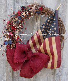 Americana Wreath Primitive Wreath Fourth of by NewEnglandWreath