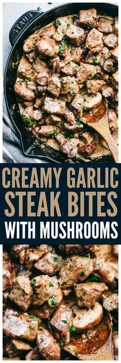 Creamy Garlic Steak Bites with Mushrooms are made in the most amazing creamy gar. - Creamy Garlic Steak Bites with Mushrooms are made in the most amazing creamy garlic sauce with melt - Skirt Steak Recipes, Grilled Steak Recipes, Steak Dinner Recipes, Recipes With Steak, Healthy Diet Recipes, Meat Recipes, Cooking Recipes, Game Recipes, Healthy Soup