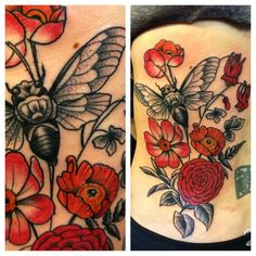 grayscale Cicada and red flowers tattoo. tattoo idea, red flowers, leg tattoo, simpl color, bugs tattoo, flower tattoos, cicada tattoo, honey bees