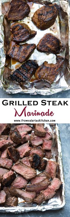 This four ingredient Grilled Steak Marinade is packed with classic BBQ flavor. A wonderful choice for summer parties!