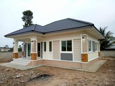 Modern Bungalow House Design, 4 Bedroom House Designs, Small House Design, Home Building Design, Home Design Floor Plans, My House Plans, Modern House Plans, D House, Facade House