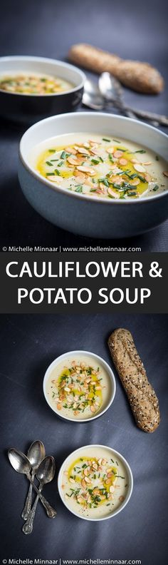 Cauliflower & Potato Soup - In the throes of winter, soup is always welcome. Here is something different - cauliflower and potato soup.  #babyfood #dairyfree #glutenfree #lactosefree #maincourse #snacks #soups #starters #vegan #vegetarian #wheatfree #cauliflower #potato