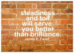 Steadiness & toil will serve you better than brilliance