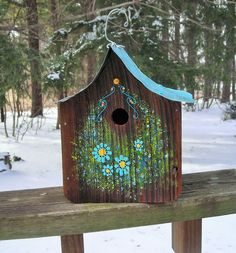 Rustic Barn Wood Birdhouse, Wrens, Metal Roof, Hand Painted Floral Front, Blue Flowers,Folk Art, Yard Art, Garden Art, Upcycle, Recycle by Imperfetions on Etsy