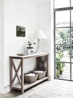 Home Hallway decor. Herston console table by Neptune. Shaftesbury table lamp and Ashcroft baskets A Hallway Table Decor, Hallway Decorating, Decorating Your Home, Hallway Furniture, Hallway Entrance Ideas, Hallway Console Table, Console Table Styling, Hallway Flooring, Living Tv