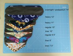 Reusable Cloth Sanitary Pad Sizes - a quick breakdown of the different sized pads we have available to buy. Can be used for menstrual period flow or to help with incontinence, Panty Liners, Regular Medium Flow, Heavy Flow and Overnight Postpartum Cloth Pads