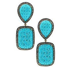 Diamond and Etched Turquoise Double Drop Earrings