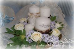 centro de mesa para bautizos con velas personalizadas