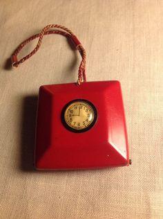 Antique Red Celluloid Compact Dance Purse Enameled Art Deco Flapper 9 O'clock