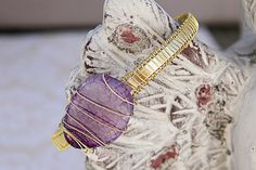 Amethyst Bangle - Gold and Aluminum Cuff Style Bangle - Amethyst Fire Agate Wire Wrap Bangle Bracelet - Gold Wire Wrapped Bracelet
