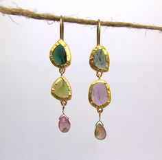 Purple And Green Tourmaline Earrings - 24k And 18K Solid Gold