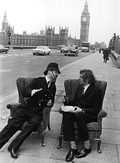Nice tea, vicar: Graham Chapman, left, and Michael Palin on Westminster Bridge in 1974.