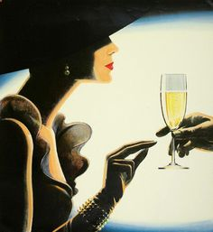 Champagne Girl  Vintage Poster Print A3 - Laminated - Art Deco - French Poster - Ref.P44