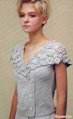 Mixed knitting (body) and crochet (lace collar). Pearl grey. Nice!! ~~ Очень нравится - делюсь...