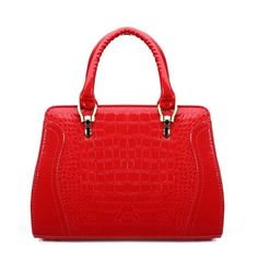 Women crocodile pattern patent leather handbag