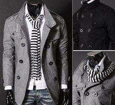 Men's Slim Double Breasted Trench Coat Peacoat Black/Grey NEW US XS S M L XL #New #BasicCoat