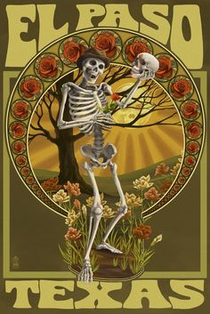 Amazon.com: El Paso, Texas - Day of the Dead - Skeleton Holding Sugar Skull (24x36 Giclee Gallery Print, Wall Decor Travel Poster): Home & Kitchen