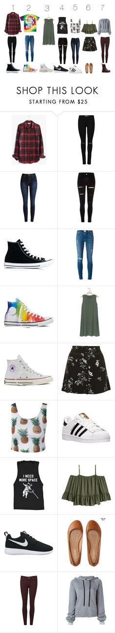 """Based on my profile which am I more likley to wear"" by meow12354 ❤ liked on Polyvore featuring Madewell, River Island, Converse, Frame, Gap, Topshop, adidas, NIKE, Aéropostale and Paige Denim"