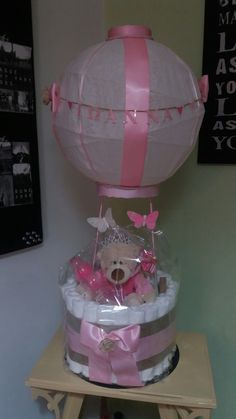 DIY DiapersCake airballoon for girls Diy Diaper Cake, Diy Diapers, Shower Ideas, Parties, Baby Shower, Random, Girls, Collection, Home Decor