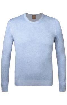 Pullover   Figurnaher Herren-Pullover von Off in Hellblau. Aus reiner Baumwolle gefertigt, mit engem Rundhalsausschnitt, langem Arm und gerippten Bündchen $180