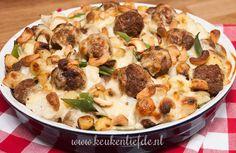 Bloemkool-ovenschotel met gehaktballetjes, zonder aardappels geschikt voor #Koolhydraatarm dieet.