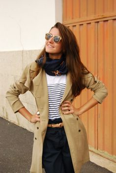 Scarf, stripes, and trench.