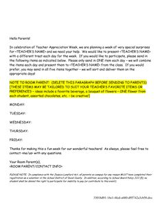 This parent letter explains that the class will be doing a winter teacher appreciation week letter sample teacher appreciation week letter doc spiritdancerdesigns Gallery