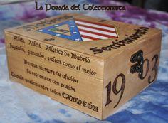 Caja pirograbada del Atlético de Madrid