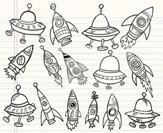 Ensemble de l'espace Doodle mignon stock vecteur libres de droits libre de droits
