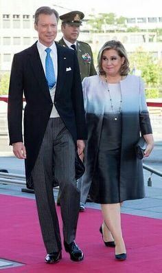 Grand Duke Henri & Grand Duchess Maria Teresa Of Luxembourg  Arriving To Attend National Day Ceremonies At The Luxembourg Philharmonic  Building , June 23, 2016.