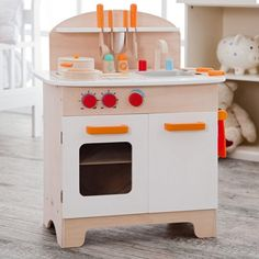Hape Wooden Play Kitchen - the perfect size play kitchen for Brooklyn apartments!