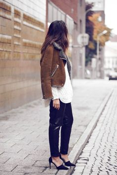 slouchy leather pants + cream top + brown jkt