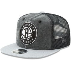 newest 083d4 beb48 Men s Brooklyn Nets New Era Black Rugged Trucker 9FIFTY Original Fit  Adjustable Hat
