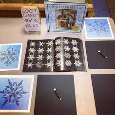 Snowflakes And The Start Of Story Workshop (Inquiring Minds: Mrs. Kindergarten Inquiry, Kindergarten Centers, Winter Art Kindergarten, Preschool Winter, Literacy Centers, Snowflake Bentley, Snowflakes Art, Winter Activities, Christmas Activities Ks2