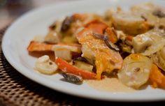 Kürbis-Kartoffel-Auflauf mit Champignons | vegane Rezepte in Hauptgerichte