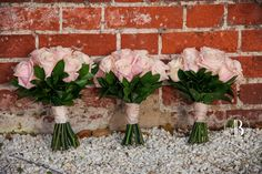 Simply elegant Pink Rose bridesmaids bouquets.