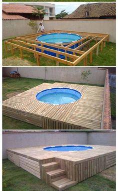 Piscina Diy, Piscina Pallet, Diy Pool, Swimming Pools Backyard, Pool Decks, Backyard Pool Designs, Small Backyard Pools, Backyard Patio, Backyard Ideas