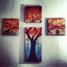 Someones tree of life painting! Tree Of Life Painting, Heart Painting, Love Painting, Tree Paintings, Canvas Art, Canvas Ideas, Tree Art, Doodle Art, Art Projects
