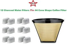 4 Permanent Coffee Filter  12 Water Filters for Cuisinart Coffeemakers *** To view further for this item, visit the image link.