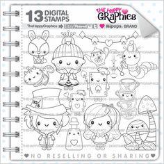 ★New listing! Alice in Wonderland digital stamps for COMMERCIAL USE - Kawaii stamps