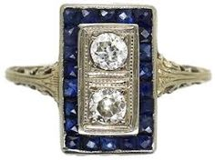 Image result for sapphire and diamond art deco rings
